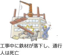 工事中に鉄材が落下し、通行人は死亡